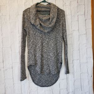 EVY'S TREE Long Cowlneck Top Gray/White/Black